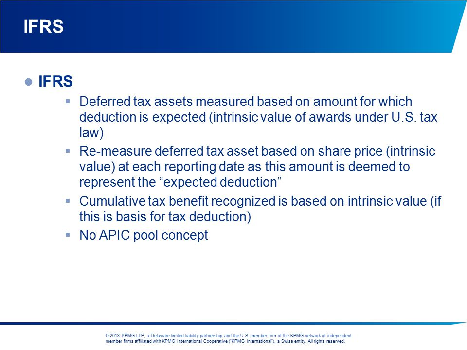 IFRS IFRS. Deferred tax assets measured based on amount for which deduction is expected (intrinsic value of awards under U.S. tax law)