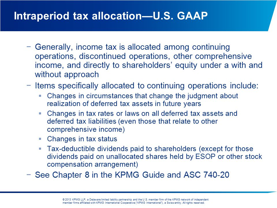 Intraperiod tax allocation—U.S. GAAP