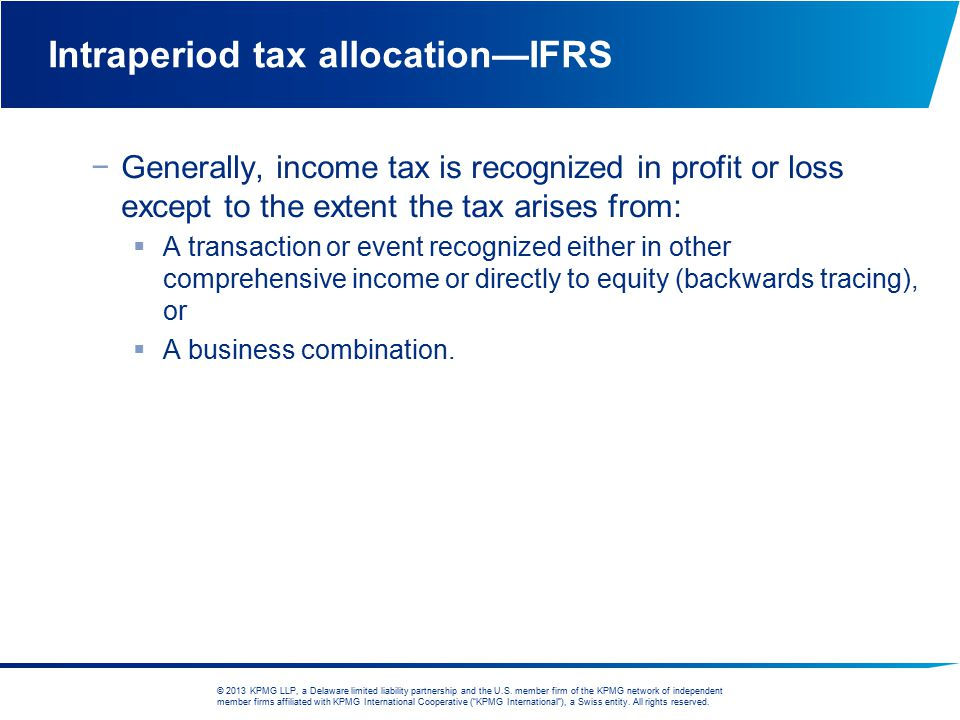 Intraperiod tax allocation—IFRS