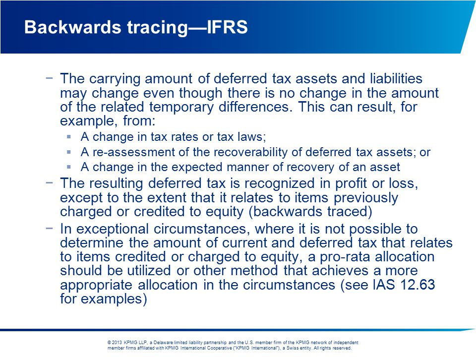 Backwards tracing—IFRS