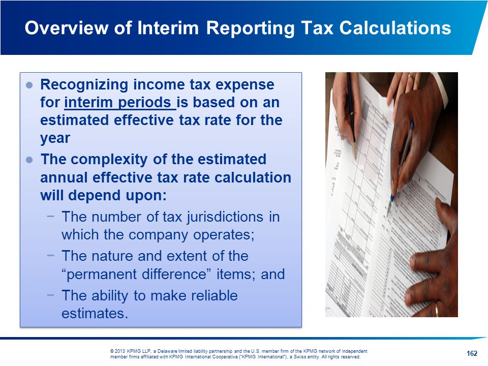 Overview of Interim Reporting Tax Calculations