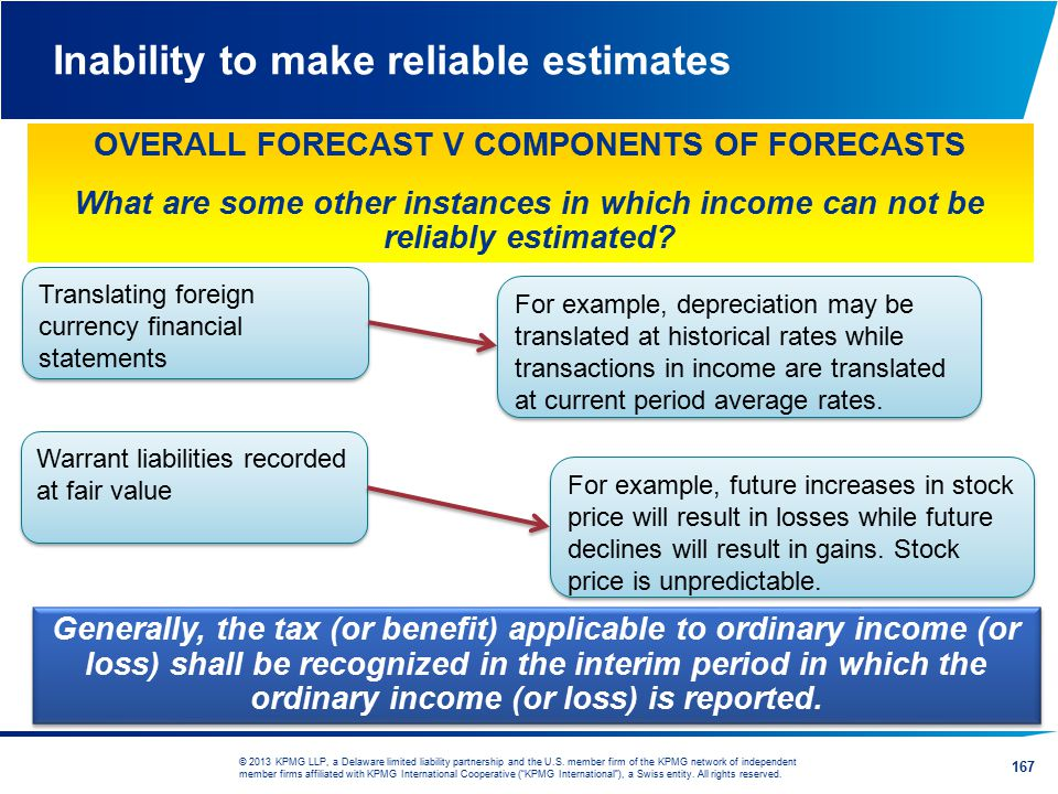 Inability to make reliable estimates