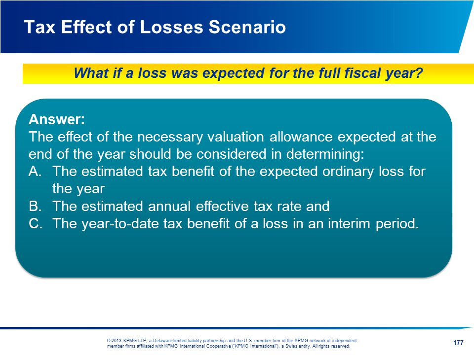Tax Effect of Losses Scenario