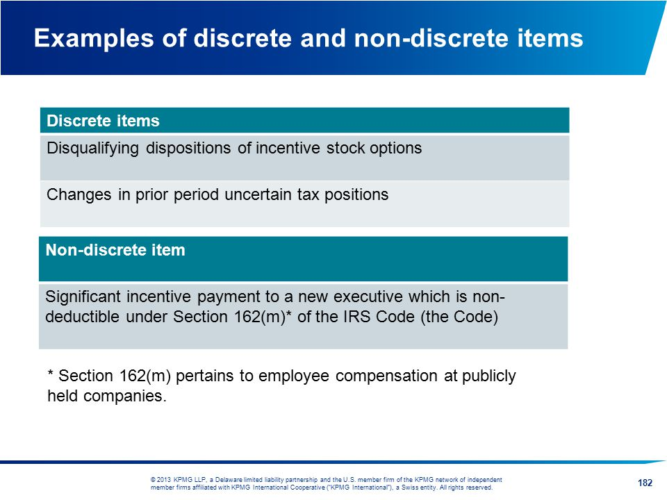 Examples of discrete and non-discrete items