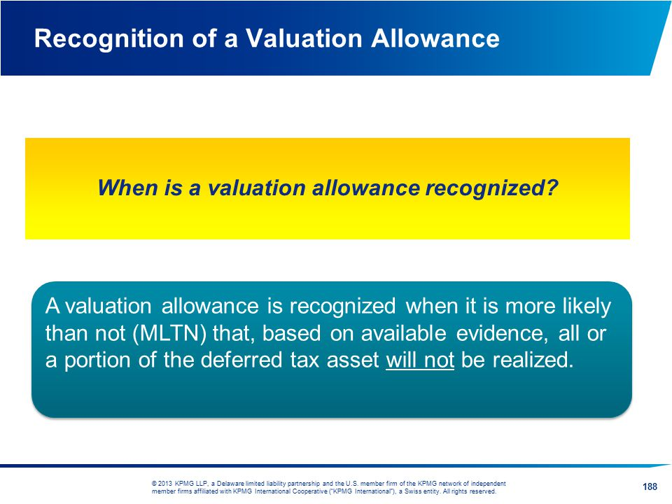 Recognition of a Valuation Allowance