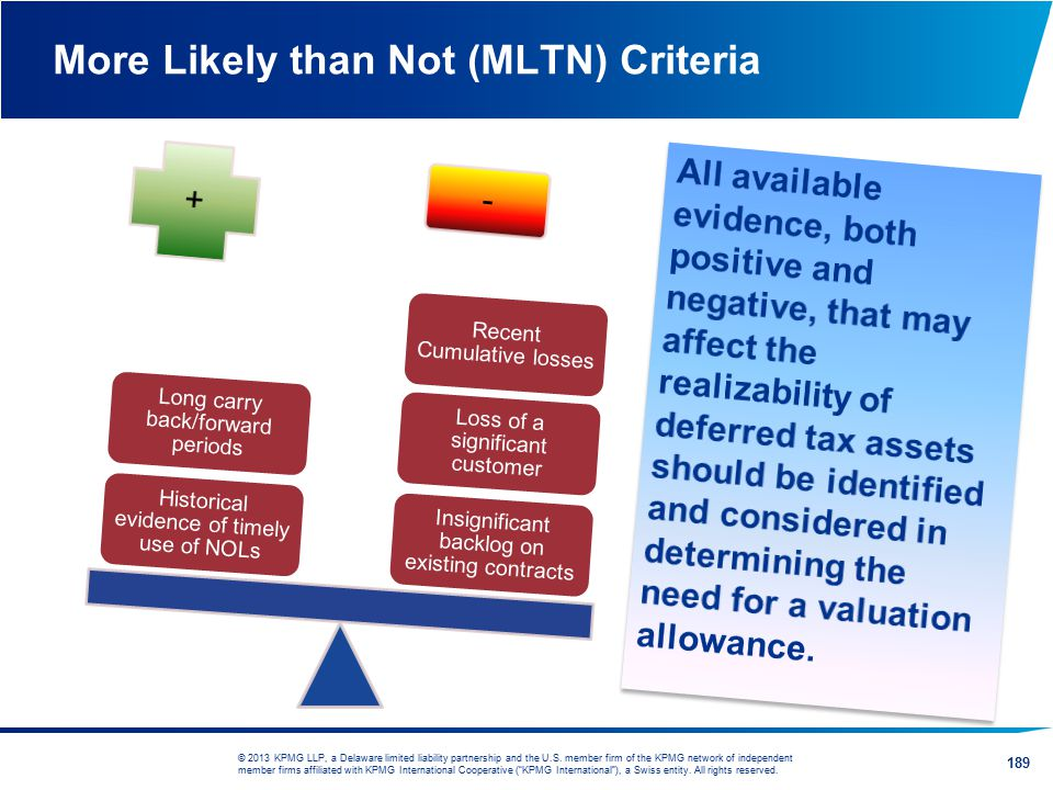 More Likely than Not (MLTN) Criteria
