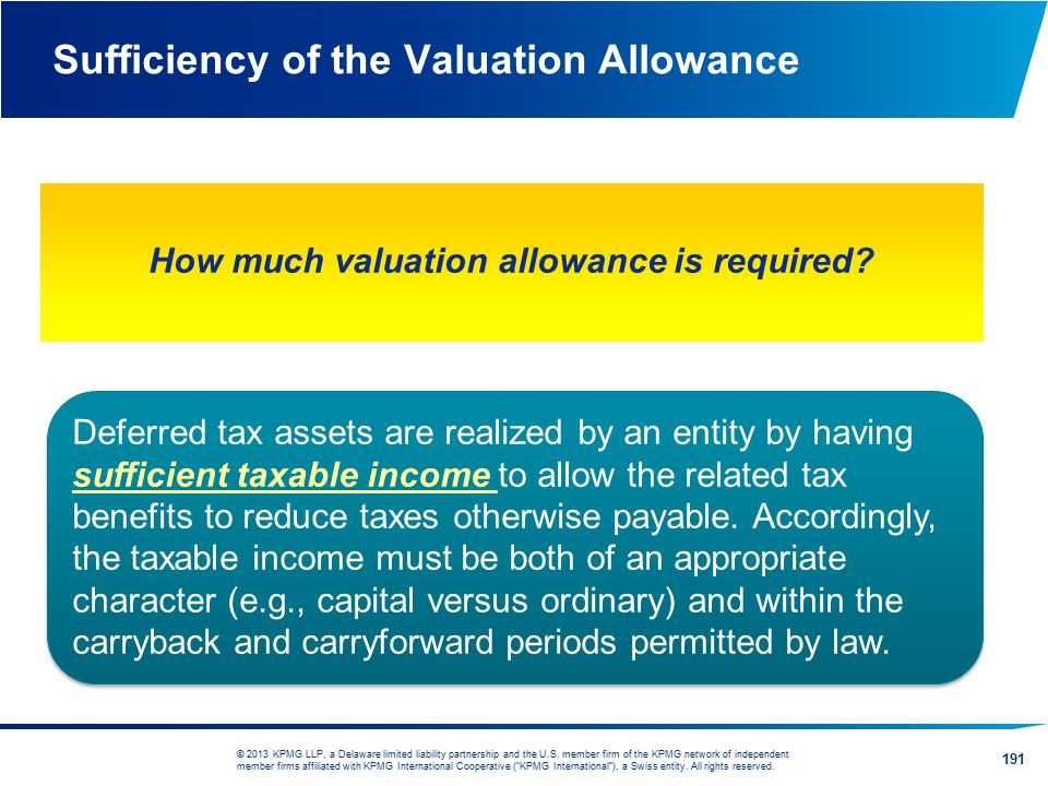 Sufficiency of the Valuation Allowance