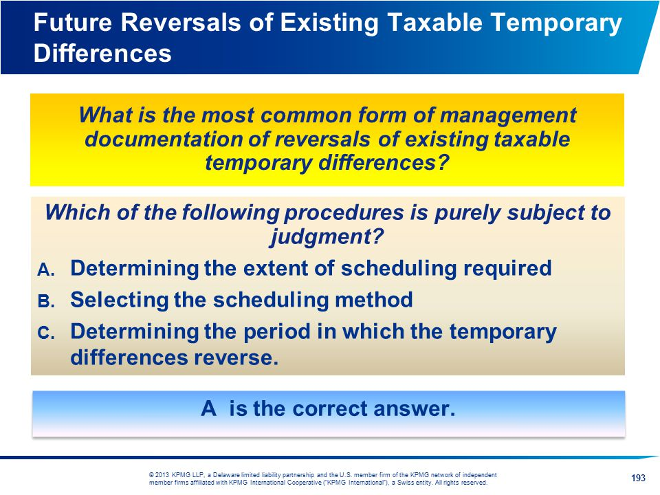 Future Reversals of Existing Taxable Temporary Differences