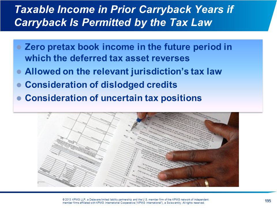 Taxable Income in Prior Carryback Years if Carryback Is Permitted by the Tax Law