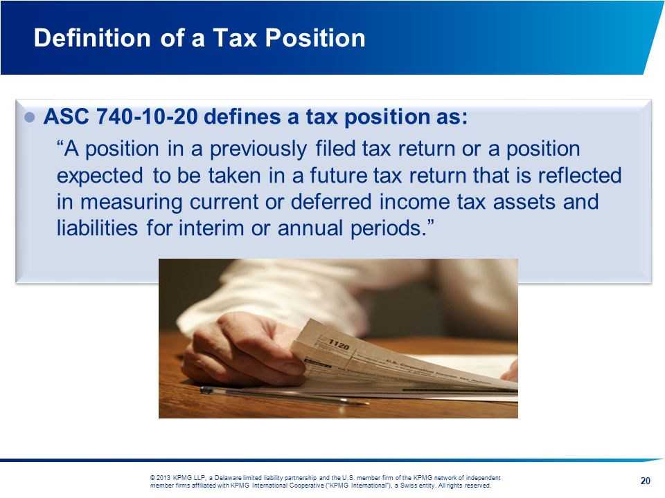 Definition of a Tax Position