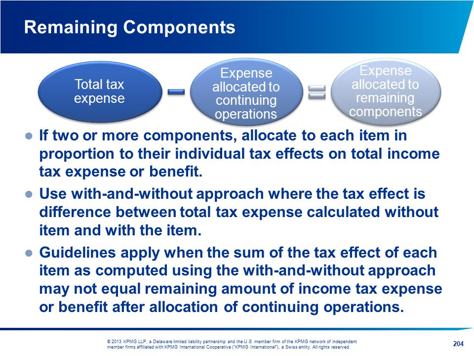 Remaining Components Total tax expense. Expense allocated to continuing operations. Expense allocated to remaining components.