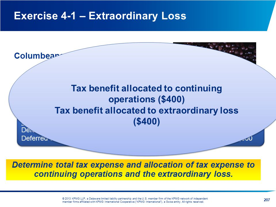 Exercise 4-1 – Extraordinary Loss