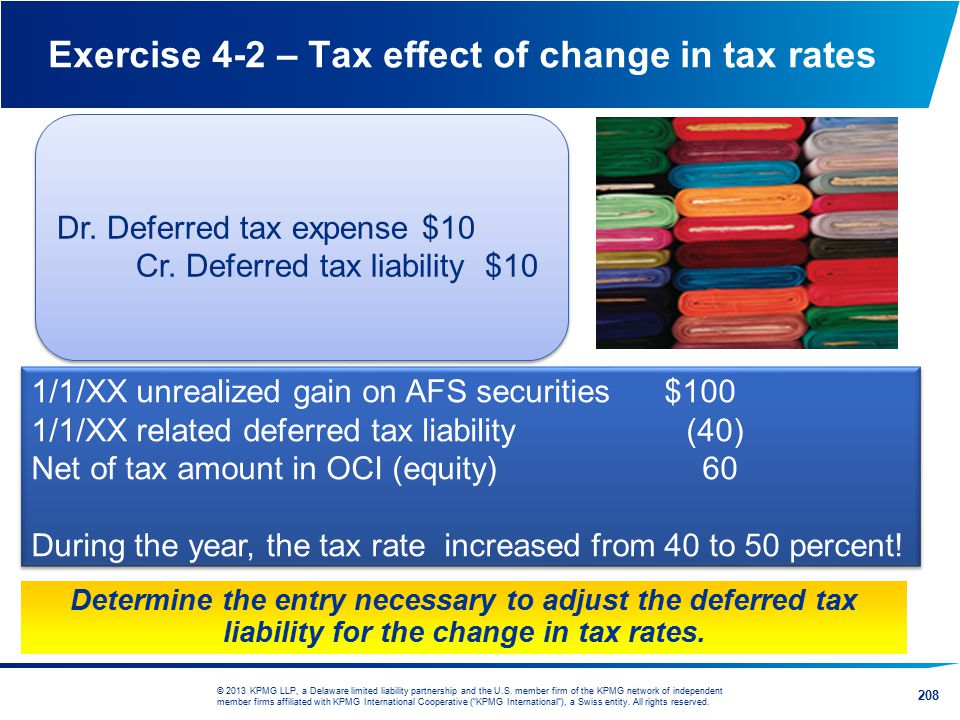 Exercise 4-2 – Tax effect of change in tax rates