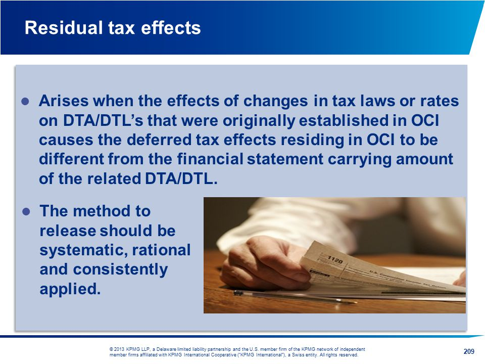 Residual tax effects