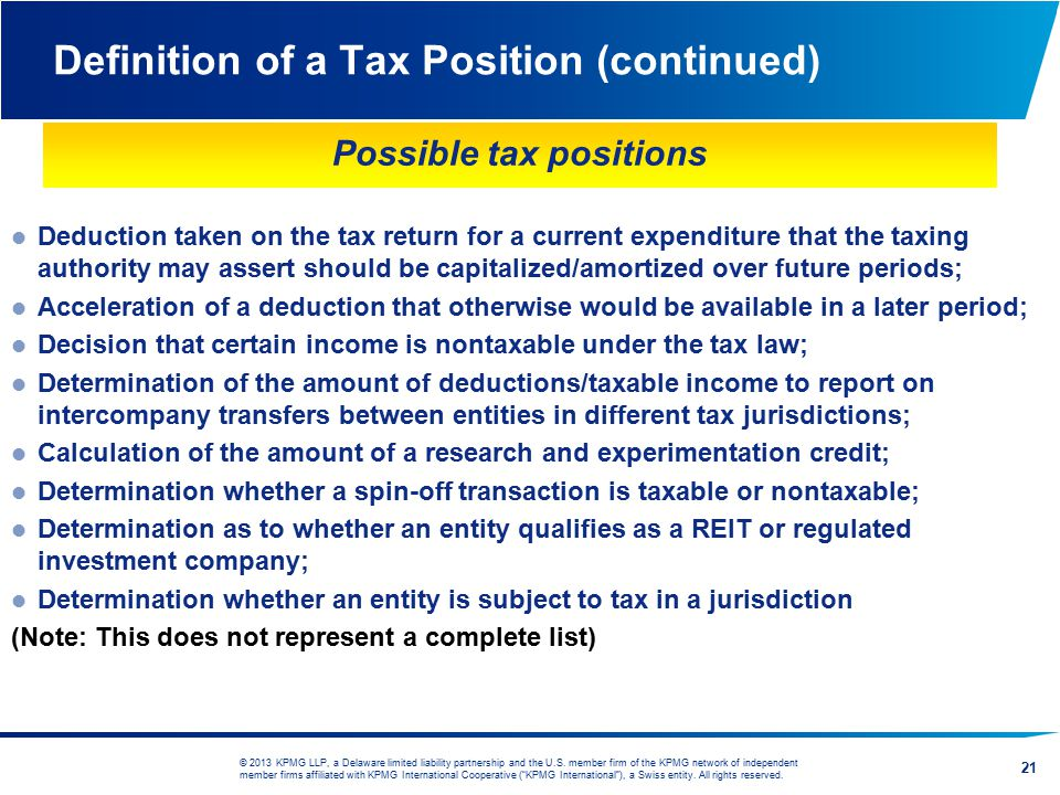 Definition of a Tax Position (continued)