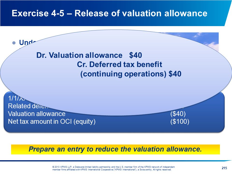 Exercise 4-5 – Release of valuation allowance