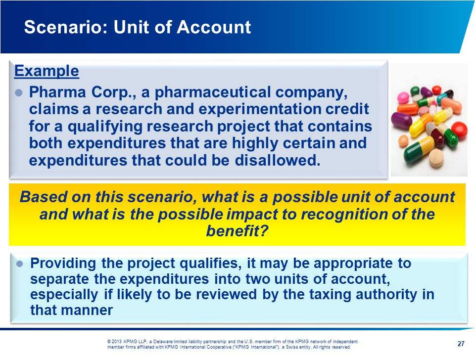 Scenario: Unit of Account