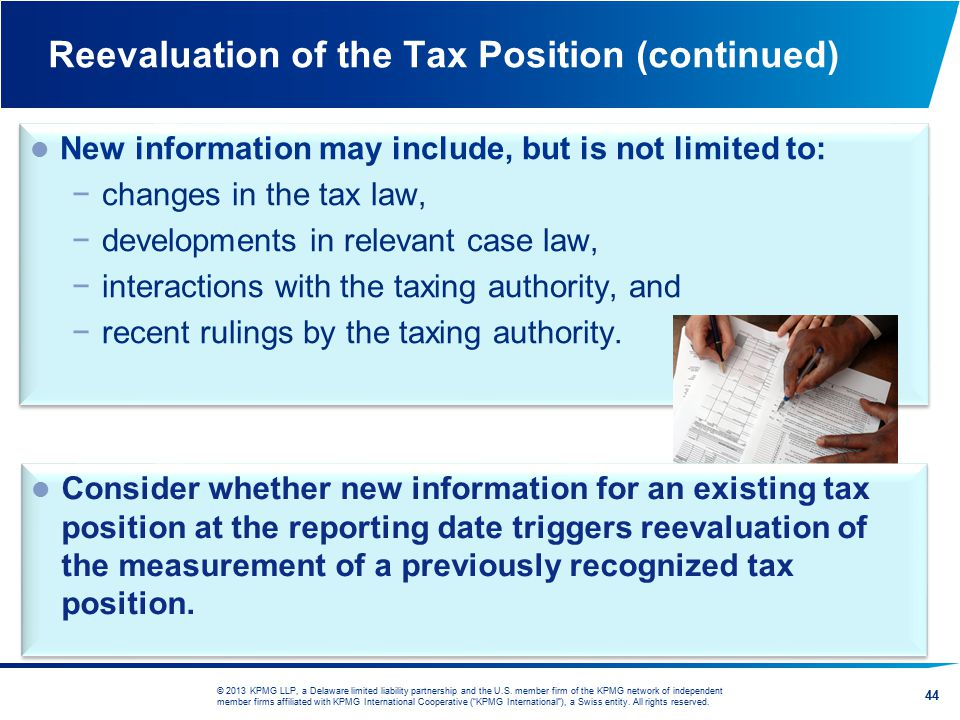 Reevaluation of the Tax Position (continued)