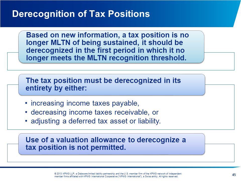 Derecognition of Tax Positions