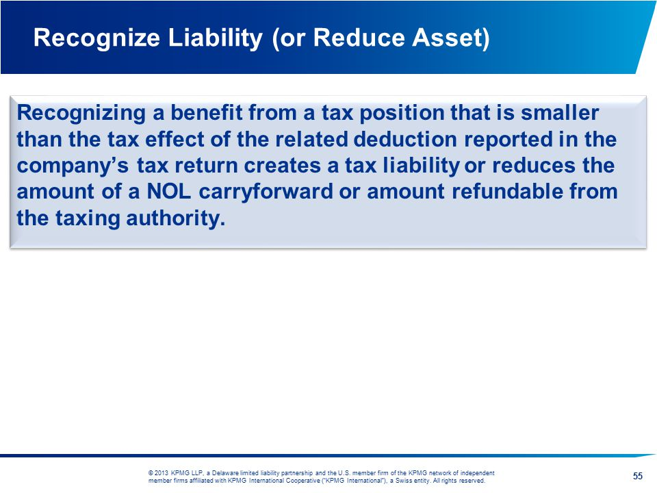 Recognize Liability (or Reduce Asset)