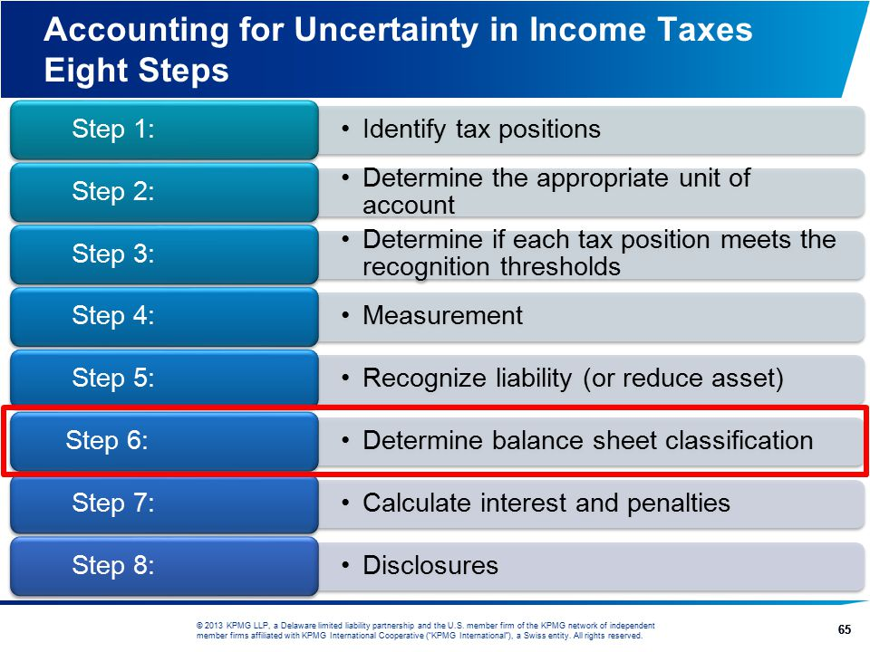 Accounting for Uncertainty in Income Taxes Eight Steps
