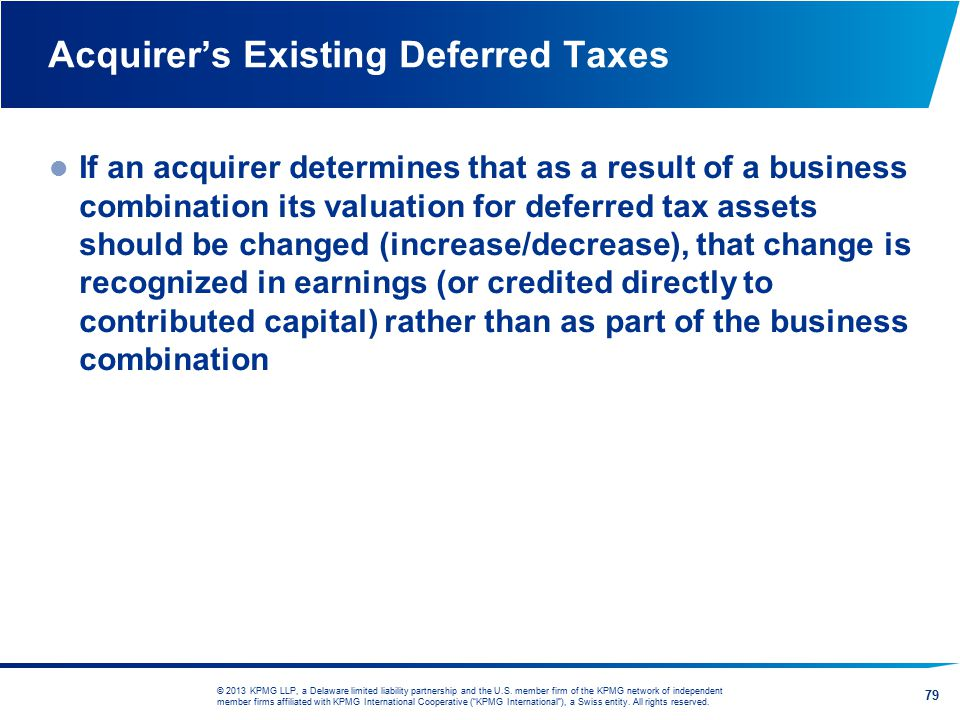 Acquirer's Existing Deferred Taxes