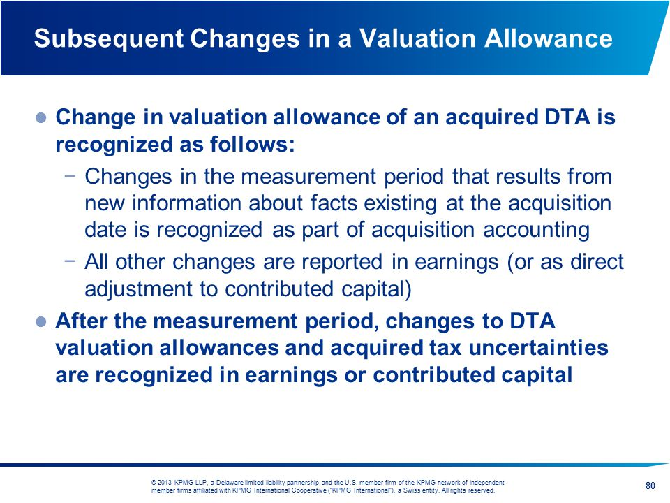 Subsequent Changes in a Valuation Allowance