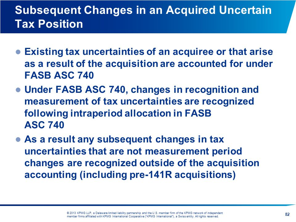 Subsequent Changes in an Acquired Uncertain Tax Position