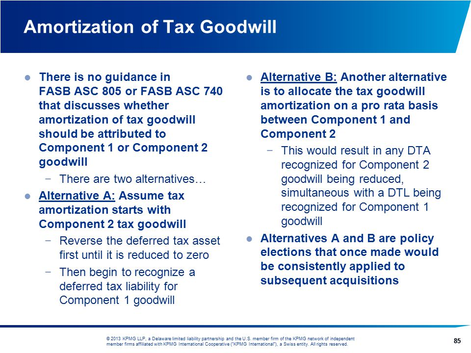 Amortization of Tax Goodwill