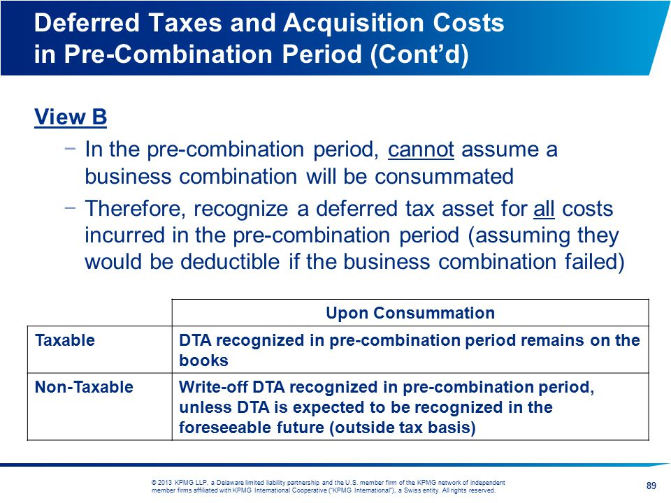 Deferred Taxes and Acquisition Costs in Pre-Combination Period (Cont'd)