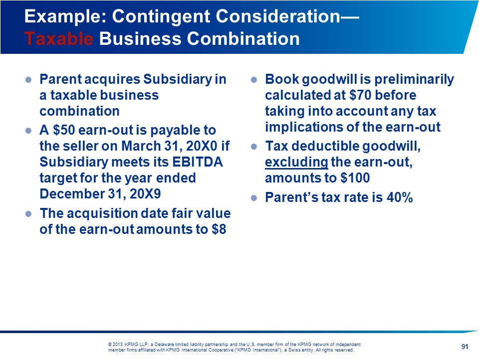 Example: Contingent Consideration— Taxable Business Combination
