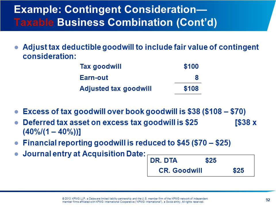 Example: Contingent Consideration— Taxable Business Combination (Cont'd)