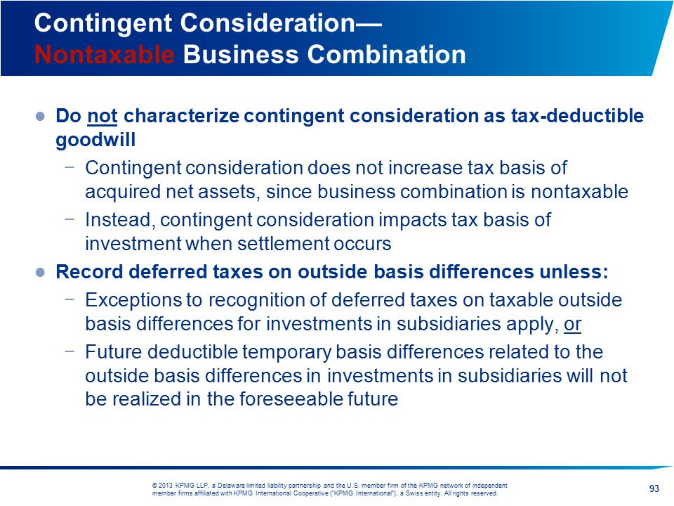 Contingent Consideration— Nontaxable Business Combination