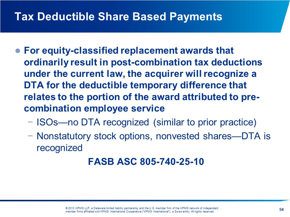 Tax Deductible Share Based Payments