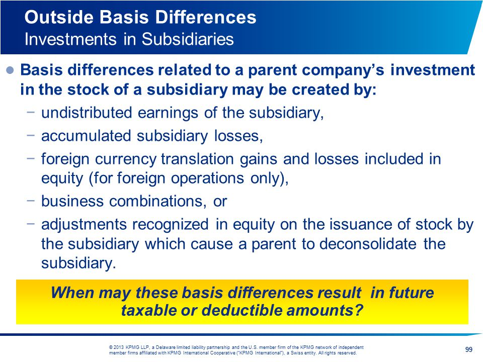 Outside Basis Differences Investments in Subsidiaries