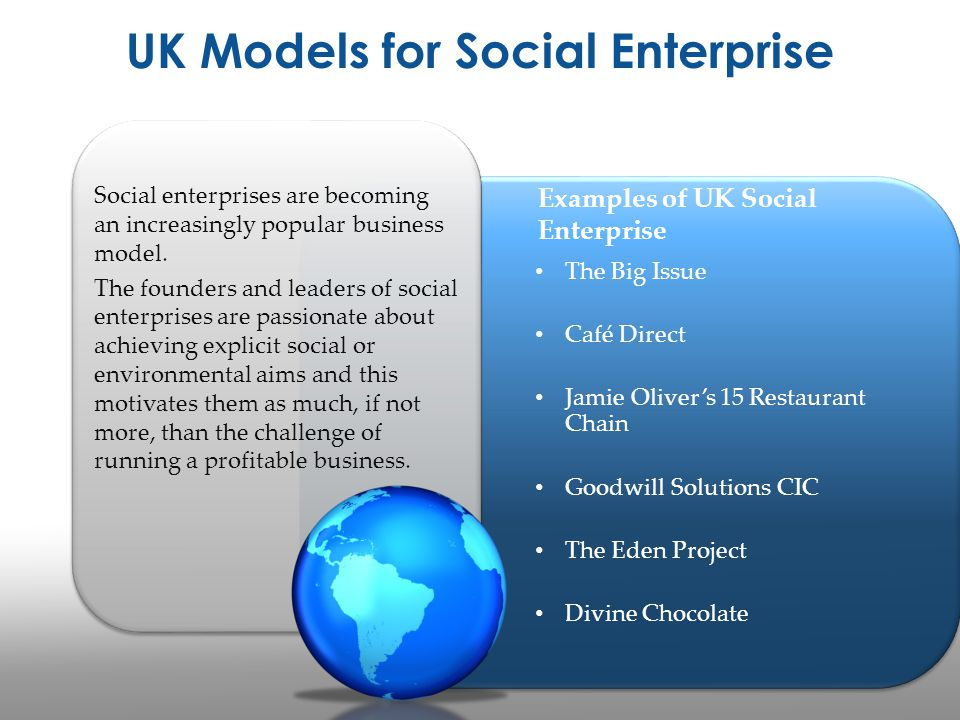 UK Models for Social Enterprise