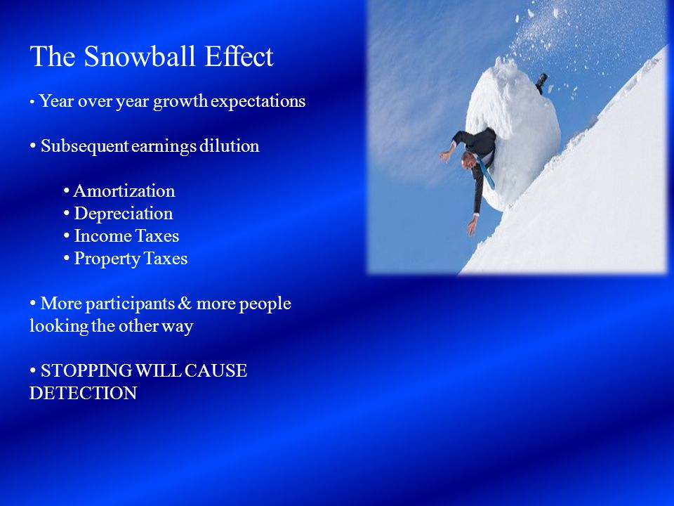 The Snowball Effect Subsequent earnings dilution Amortization