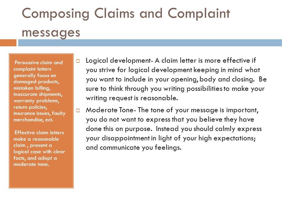 Composing Claims and Complaint messages