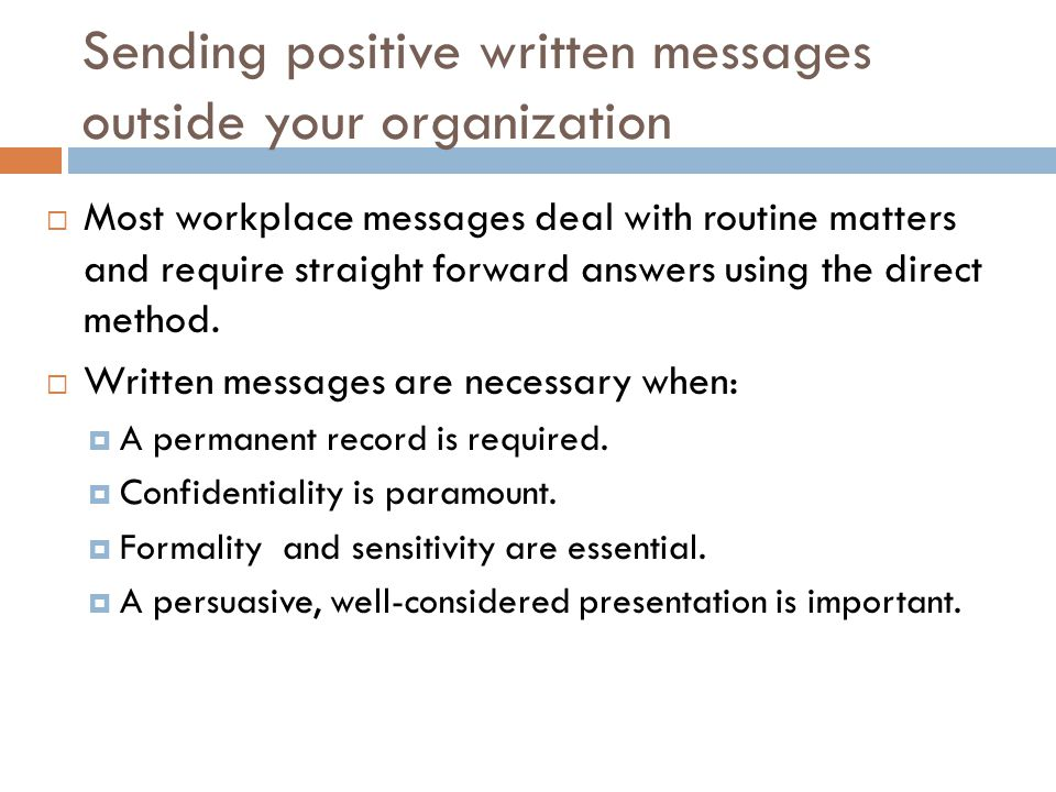 Sending positive written messages outside your organization
