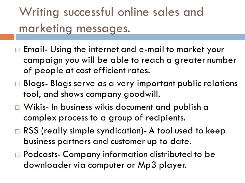 Writing successful online sales and marketing messages.