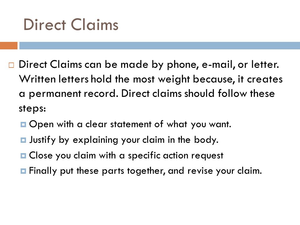 Direct Claims