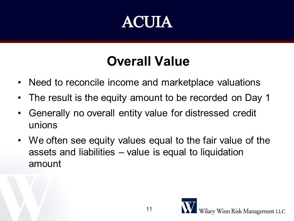 ACUIA Overall Value. Need to reconcile income and marketplace valuations. The result is the equity amount to be recorded on Day 1.