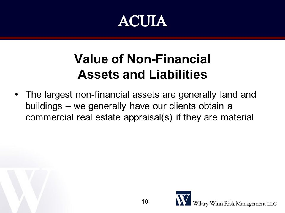 Value of Non-Financial Assets and Liabilities