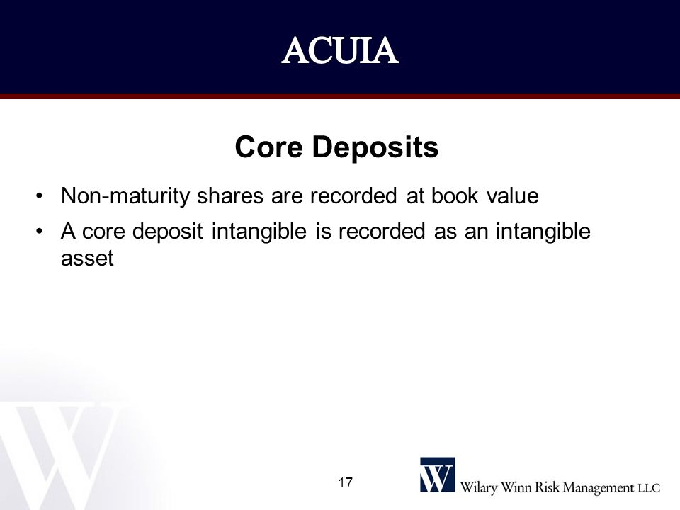 ACUIA Core Deposits Non-maturity shares are recorded at book value