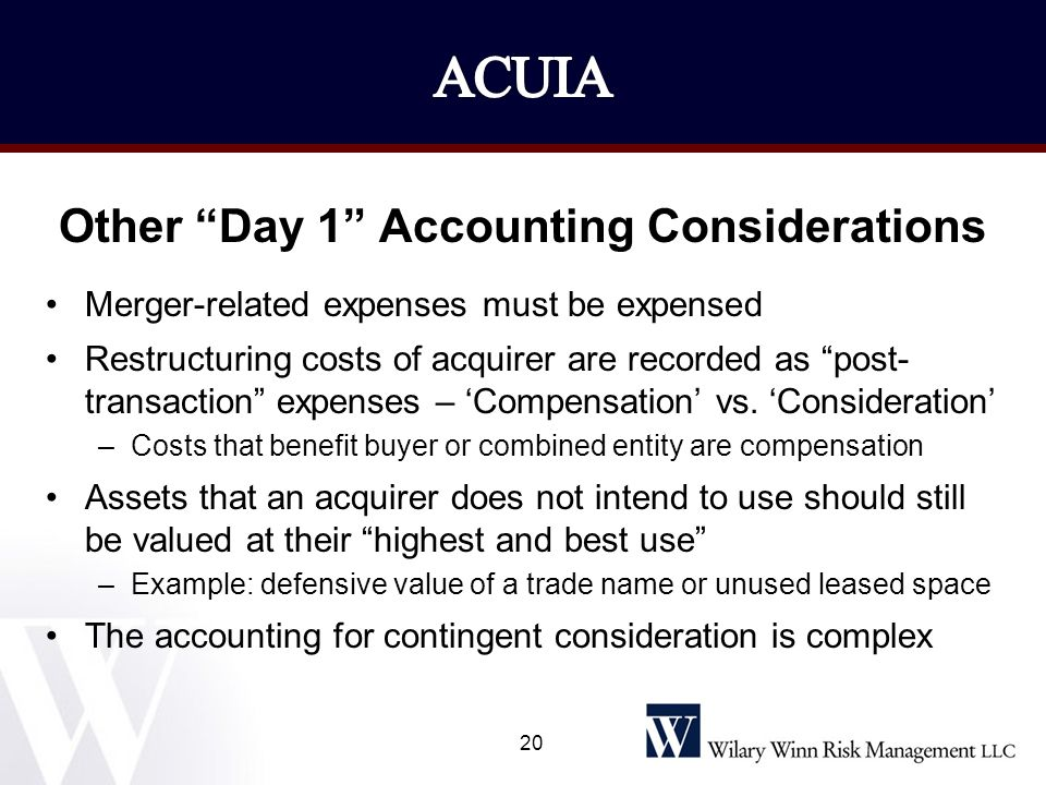 Other Day 1 Accounting Considerations