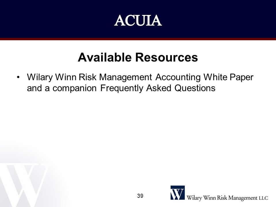 ACUIA Available Resources