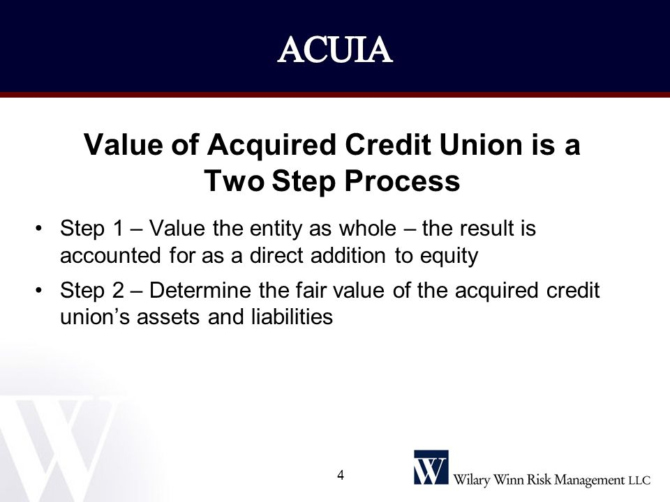 Value of Acquired Credit Union is a