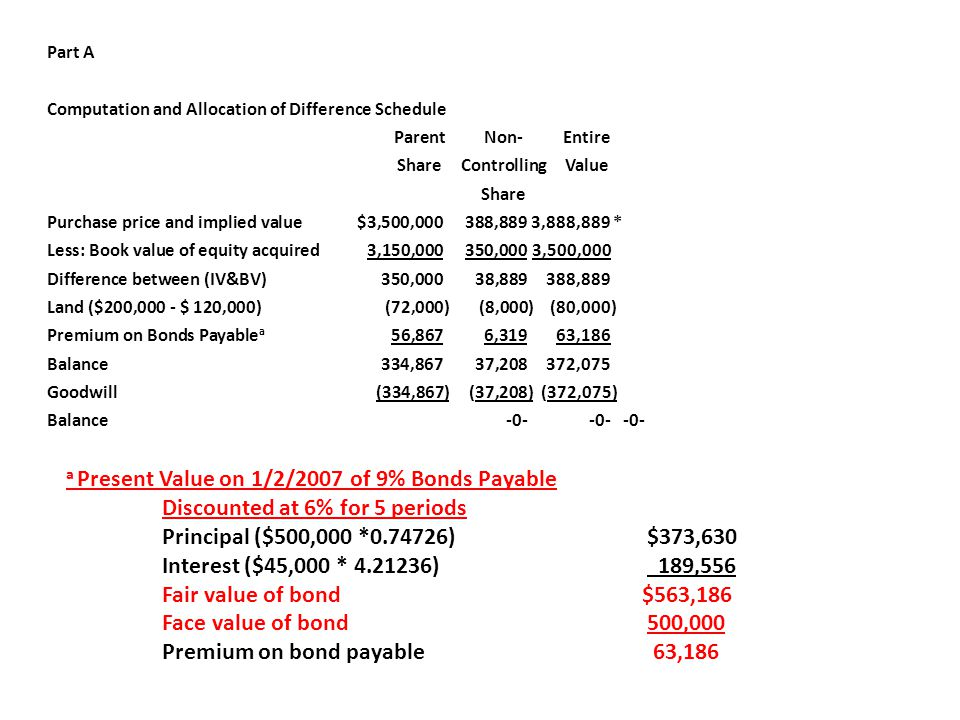 a Present Value on 1/2/2007 of 9% Bonds Payable