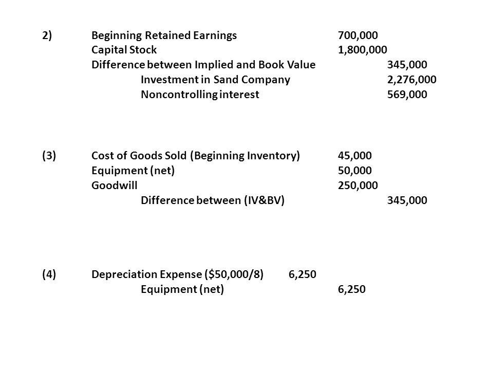 2) Beginning Retained Earnings 700,000