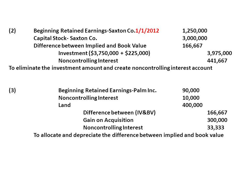 (2) Beginning Retained Earnings-Saxton Co.1/1/2012 1,250,000